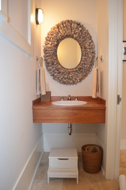 Powder Room Teak Sink Shell Mirror Beach Style
