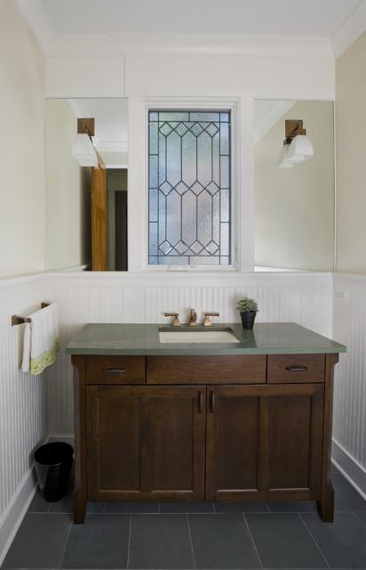 Powder room vanity leaded glass window craftsman for Vanities for powder rooms