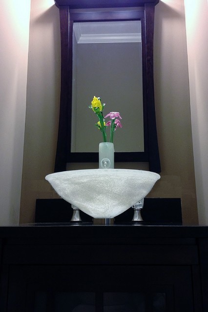 powder room vase faucet w glass flowers sink asian