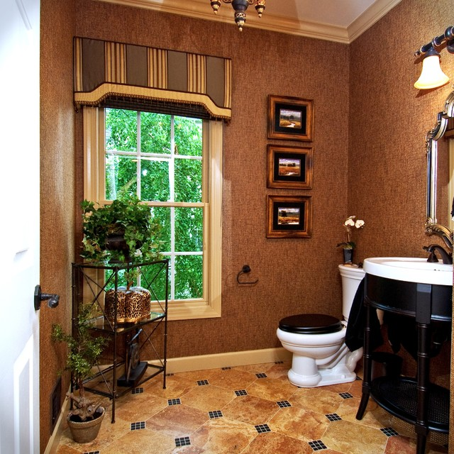 Powder Room w Marble and glass accented floors Brown/Black ...
