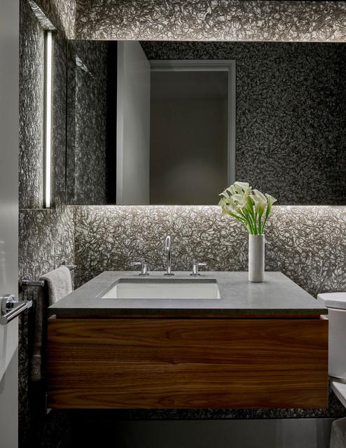 Powder room walnut floating vanity - Modern powder room vanity ...