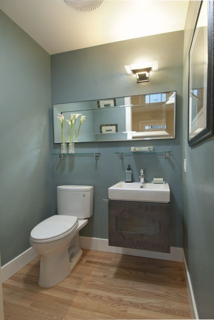 Powder room with a spacious feel more info for Powder room color ideas