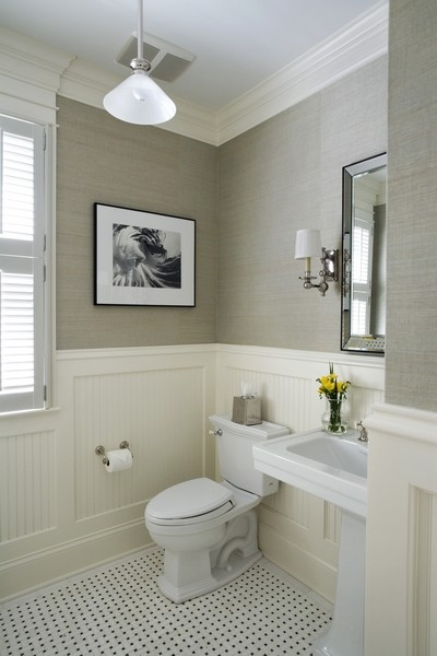 Powder Room with Beadboard Wainscot and Grass Cloth Wall Covering traditional-powder-room