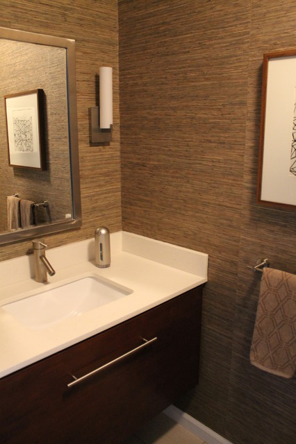 Bathroom single sink vanity ideas - Powder Room With Grasscloth Wallpaper Walnut Stained Cabinetry