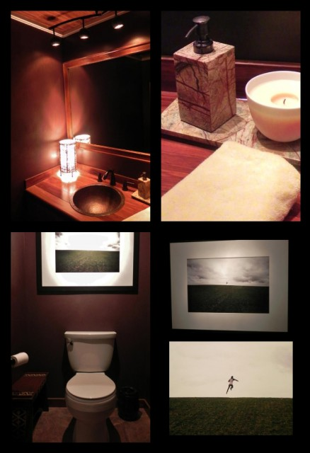 powder room with natural materials and photo art contemporary-powder-room
