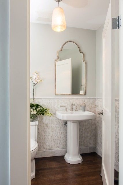 Powder rooms small bath ideas traditional powder - Tiny powder room ideas ...