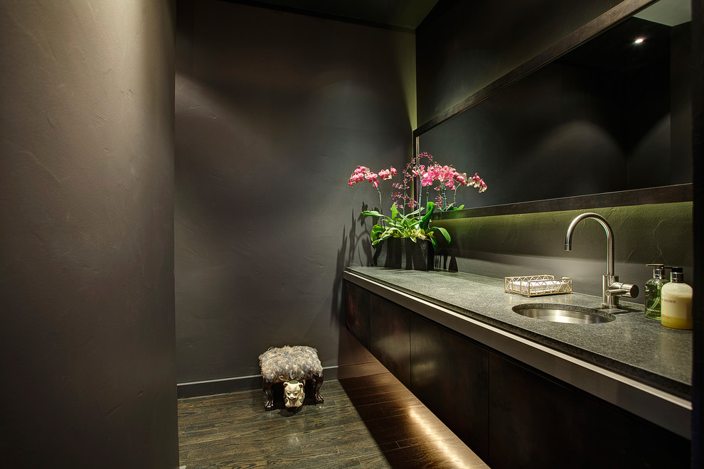 Inspiration for a contemporary powder room remodel in Seattle with an undermount sink