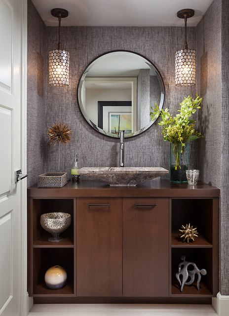 PRIVATE RESIDENCE contemporary powder room