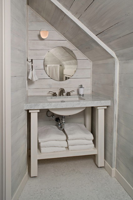 Puget Sound Beach Cabin Beach Style Powder Room