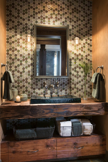Quartz Residence Rustic Powder Room