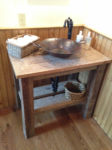 Reclaimed wood vanity with hammered copper vessel sink for Recycled bathroom sinks