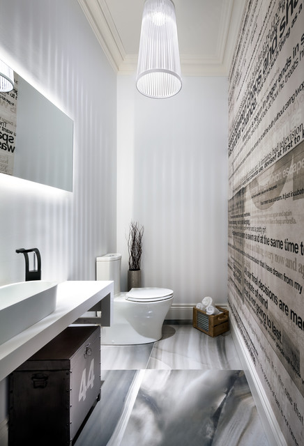 Trendy powder room photo in Toronto with a vessel sink, furniture-like cabinets, a two-piece toilet and white walls