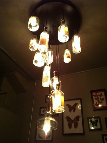 Repurposed whisky bottle chandelier - Eclectic - Powder Room - san francisco - by Omega Lighting ...
