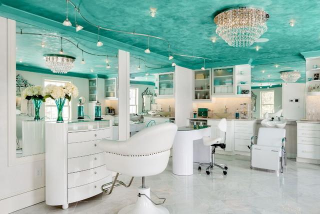 interesting tiffany blue living room ideas   Residential Tiffany Blue Spa - Eclectic - Powder Room ...