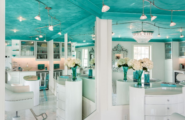 Residential Tiffany Blue Spa Tropical Powder Room