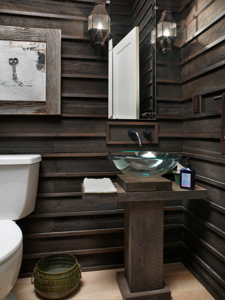 Inspiration for a rustic powder room remodel in Columbus with wood countertops, a vessel sink and brown countertops