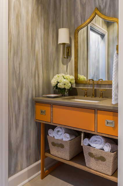 Riverside Penthouse Transitional Powder Room Little