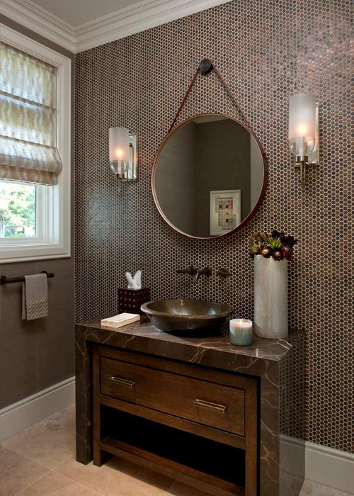 Captains Mirrors A Round Mirror Hanging From Strap Against The Wall Is Its Great Focal Point In Powder Room Or Small Vanity