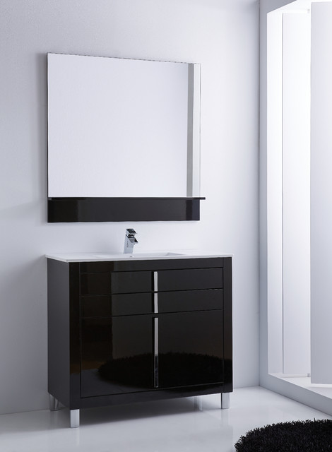 roma bathroom vanity 40 black high gloss lacquered contemporary powder room - Bathroom Cabinets Black Gloss