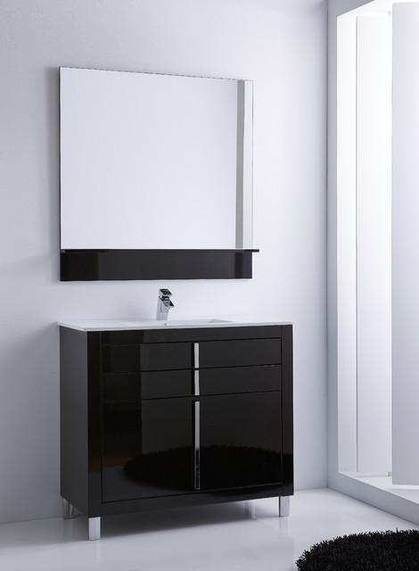Roma Bathroom Vanity 40 Black High Gloss Lacquered