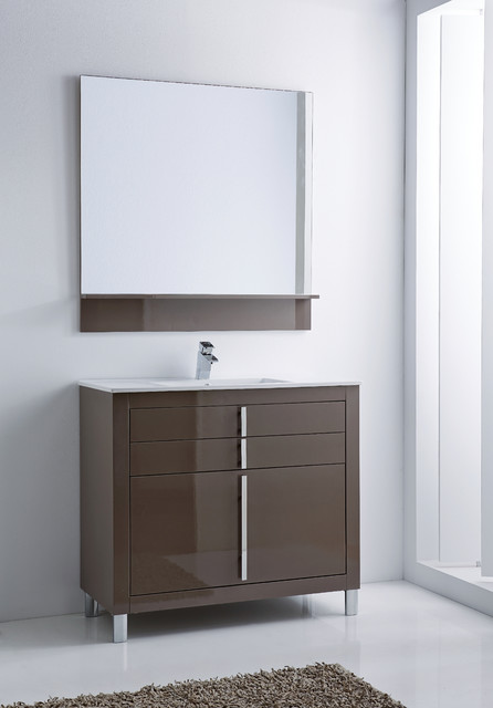 Roma Bathroom Vanity 40 Taupe High Gloss Lacquered Contemporary Powder Room Miami