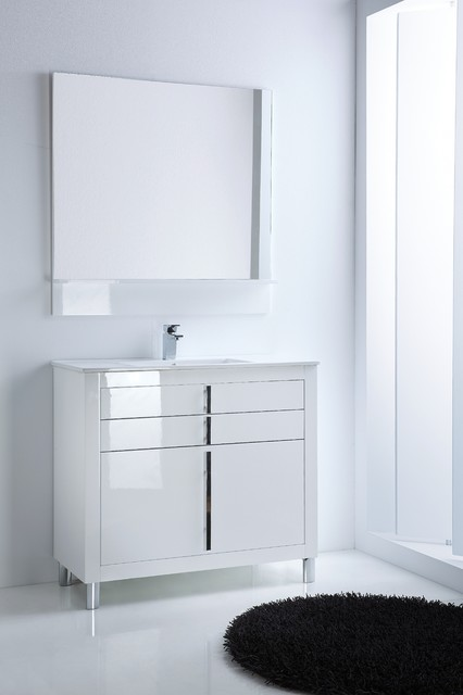 Roma bathroom vanity 40 quot   White high gloss lacquered  contemporary powder room. Roma bathroom vanity 40 quot   White high gloss lacquered