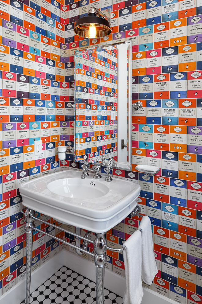 Design ideas for a small bohemian cloakroom in Ottawa with a console sink, mosaic tile flooring and multi-coloured walls.