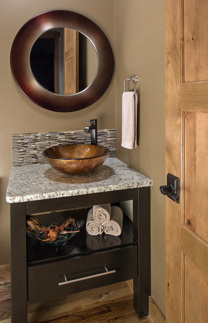 Rustic Chic Lakehouse Transitional Powder Room Omaha