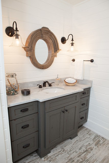 Rustic Farmhouse Powder Room in Barrington Hills