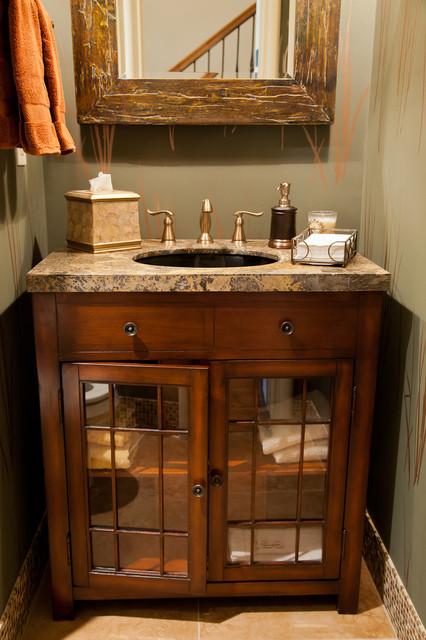 Rustic Half Bath Farmhouse Powder Room Other Metro