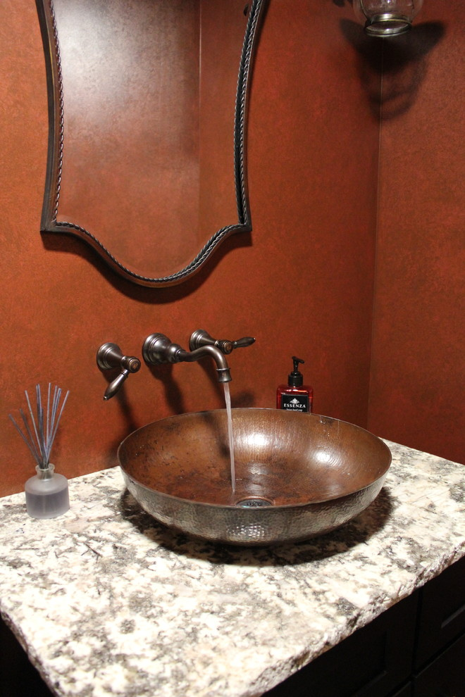Mid-sized mountain style powder room photo in Boston with a two-piece toilet, red walls, a vessel sink, granite countertops and gray countertops