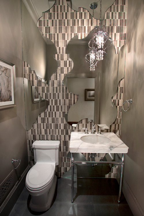 Fun Guest Bathroom Ideas : Mirror creativity in a powder room