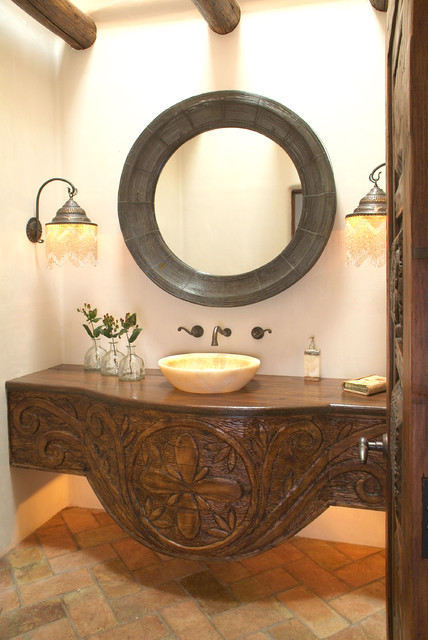 Santa Fe Style Powder Room eclectic-powder-room