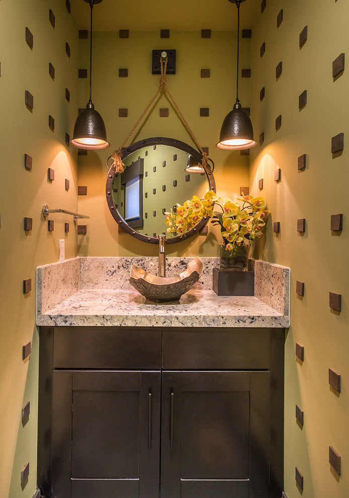 Powder room - small rustic powder room idea in Sacramento with a vessel sink, shaker cabinets, dark wood cabinets and yellow walls