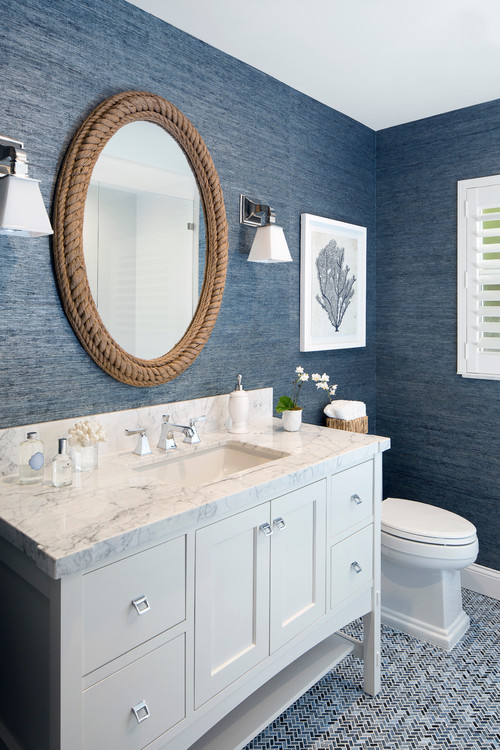 Soft Navy Blue Wallpaper Bathroom With Circular Rope Mirror - Nautical Bathroom Design