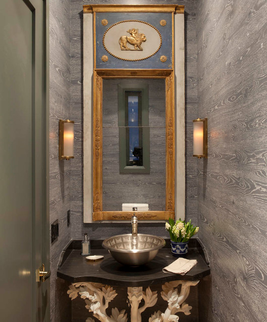 Transitional powder room photo in San Francisco with gray walls and a vessel sink