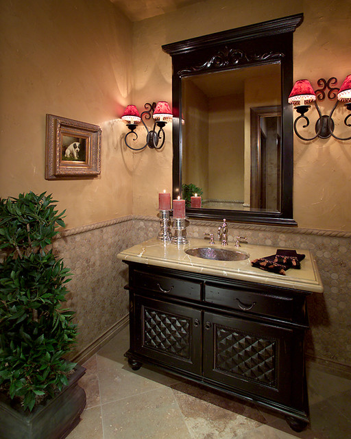 Powder Room Bathroom Design Ideas ~ Silverleaf mediterranean powder room