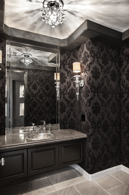 black damask wallpaper living room