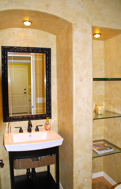 Small bathroom decorating ideas eclectic powder room - Tiny powder room ideas ...