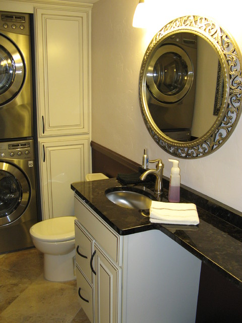 Small Powder Laundry Room Transitional Powder Room