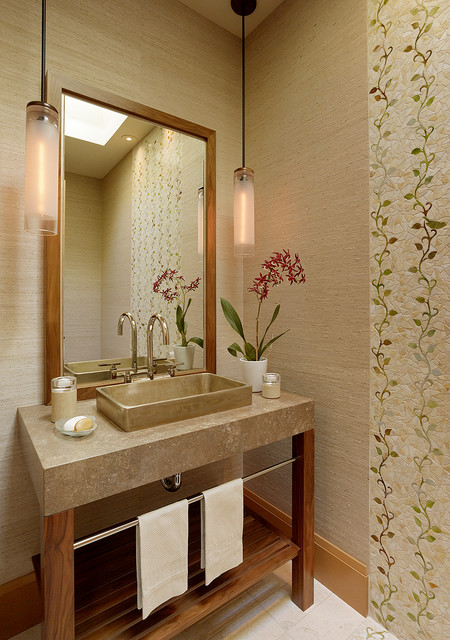 Small Spaces Transitional Powder Room San Francisco