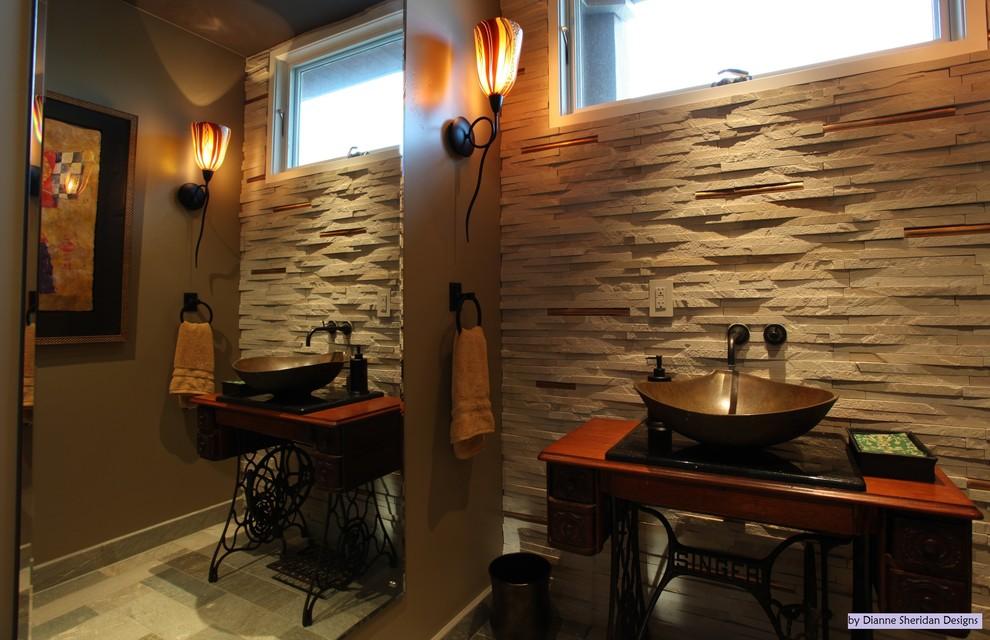 Powder room - contemporary powder room idea in San Diego