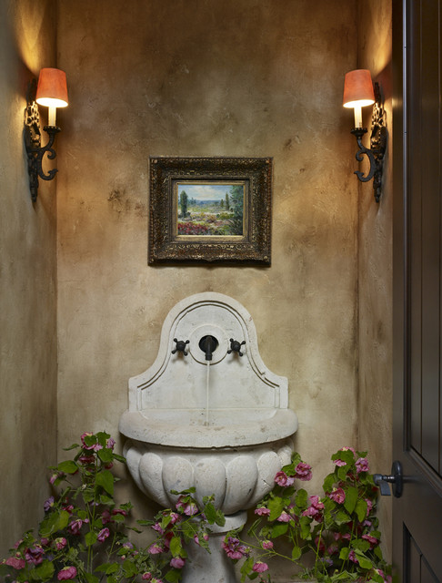 Solterra mediterranean powder room