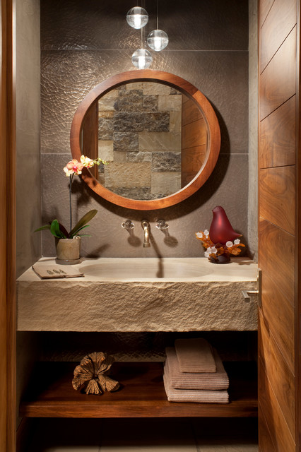 Vail Mountain Modern Residence Rustic Powder Room