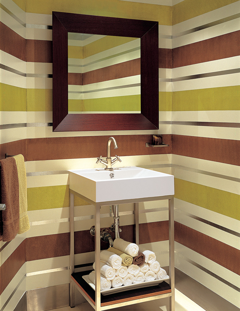 Inspiration for a contemporary powder room remodel in Miami with a vessel sink