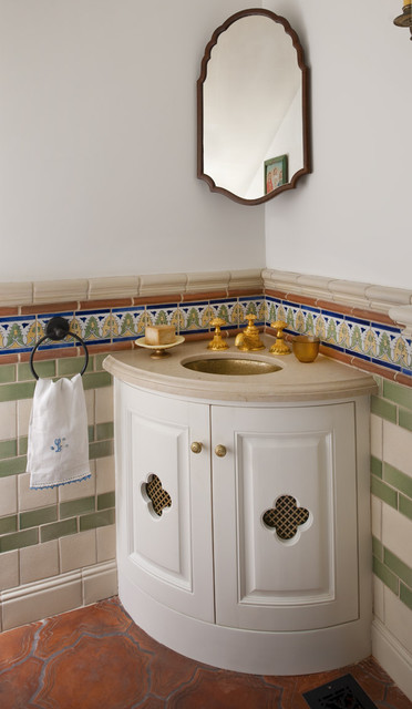 Spanish colonial remodel mediterranean powder room for Colonial style bathroom vanities