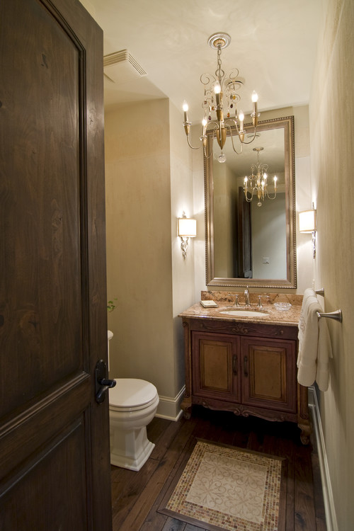 Dark wood doors white baseboards for Powder room door size