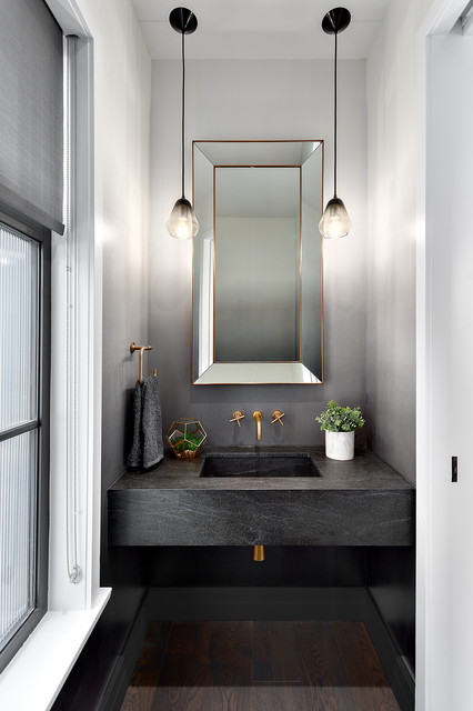 Powder room - small transitional brown floor and dark wood floor powder room idea in Vancouver with gray walls, an integrated sink, concrete countertops and gray countertops