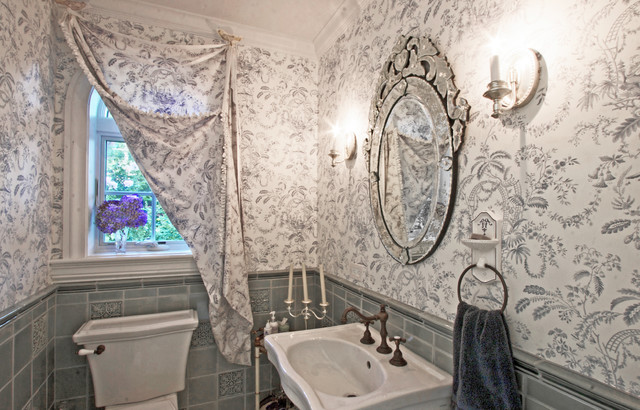 Steel Blue Powder Room traditional-powder-room