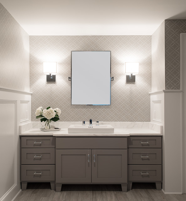 Stenciled Powder Room - Traditional - Cloakroom